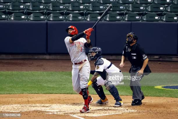Nick Castellanos of the Cincinnati Reds hits a home run in the sixth inning against the Milwaukee Brewers at Miller Park on August 07, 2020 in...
