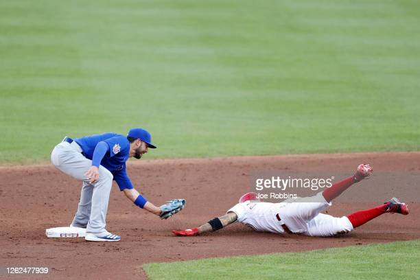 Nick Castellanos of the Cincinnati Reds is tagged out trying to steal second base by Kris Bryant of the Chicago Cubs in the second inning at Great...