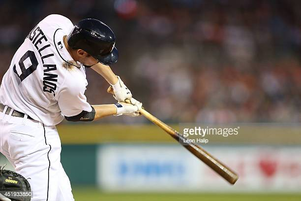 Nick Castellanos of the Detroit Tigers bats during the fifth inning of the game against the Los Angeles Dodgers at Comerica Park on July 8 2014 in...