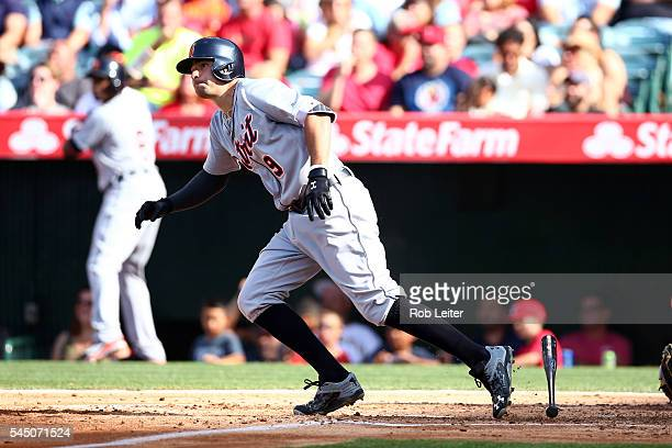 Nick Castellanos of the Detroit Tigers bats during the game against the Los Angeles Angels of Anaheim at Angel Stadium on June 1 2016 in Anaheim...