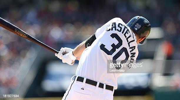 Nick Castellanos of the Detroit Tigers bats in the third inning of the game against the Chicago White Sox at Comerica Park on September 22 2013 in...