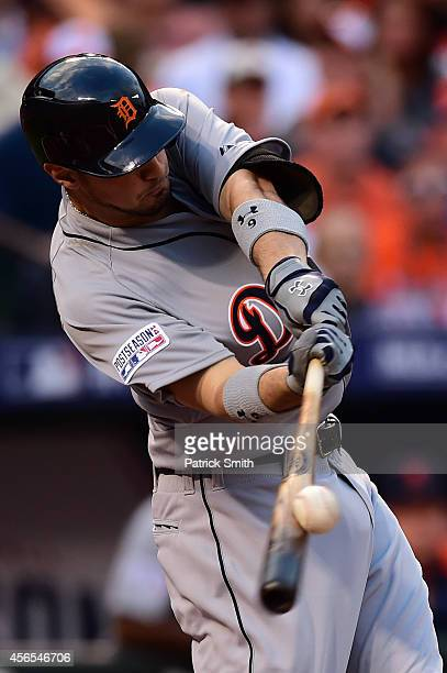 Nick Castellanos of the Detroit Tigers flys out in the second inning against Chris Tillman of the Baltimore Orioles during Game One of the American...