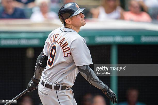 Nick Castellanos of the Detroit Tigers hits a three run home run during the fifth inning against the Cleveland Indians at Progressive Field on July 6...