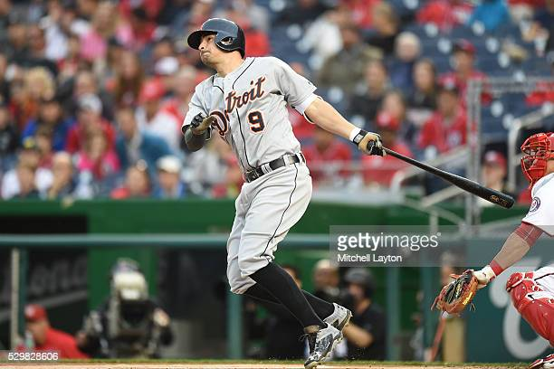 Nick Castellanos of the Detroit Tigers hits a two run home run in the first inning during a baseball game against the Washington Nationals at...
