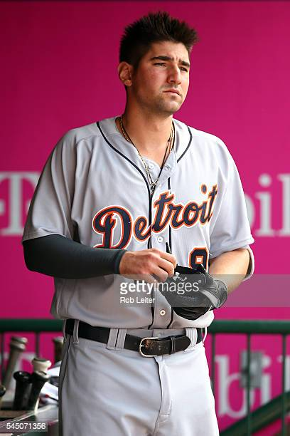 Nick Castellanos of the Detroit Tigers looks on before the game against the Los Angeles Angels of Anaheim at Angel Stadium on June 1 2016 in Anaheim...