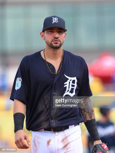 Nick Castellanos of the Detroit Tigers looks on during the Spring Training game against the Atlanta Braves at Publix Field at Joker Marchant Stadium...