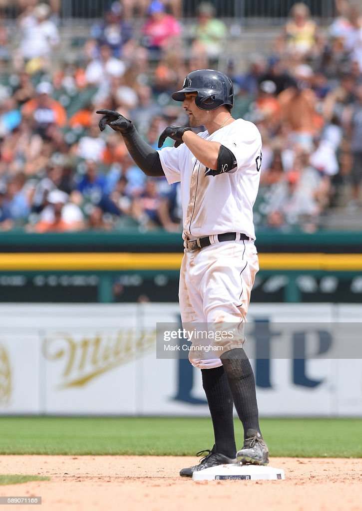 Nick Castellanos #9 of the Detroit Tigers looks on from second base after hitting a double during the game against the Kansas City Royals at Comerica Park on July 17, 2016 in Detroit, Michigan. The Tigers defeated the Royals 4-2.