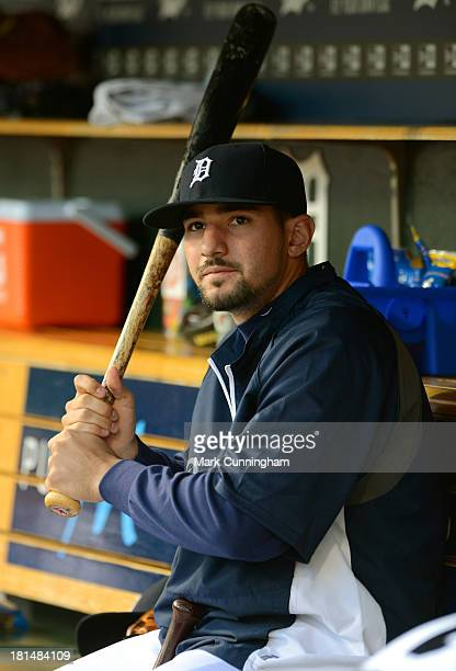 Nick Castellanos of the Detroit Tigers looks on from the dugout during the game against the Kansas City Royals at Comerica Park on September 14 2013...