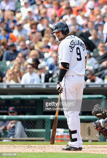 Nick Castellanos of the Detroit Tigers looks on while batting during the game against the Cleveland Indians at Comerica Park on September 14 2014 in...