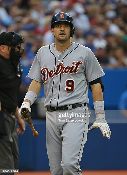 Nick Castellanos of the Detroit Tigers reacts after striking out in the second inning during MLB game action against the Toronto Blue Jays on August...