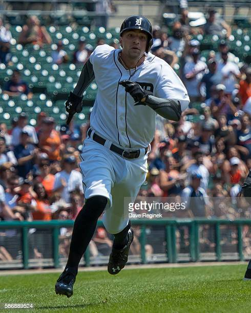 Nick Castellanos of the Detroit Tigers rounds third base on his way to home plate during a MLB game against the Chicago White Sox at Comerica Park on...