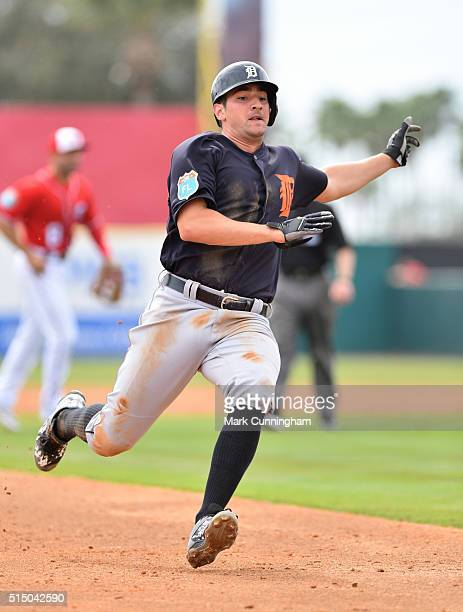 Nick Castellanos of the Detroit Tigers runs the bases during the Spring Training game against the Washington Nationals at Space Coast Stadium on...