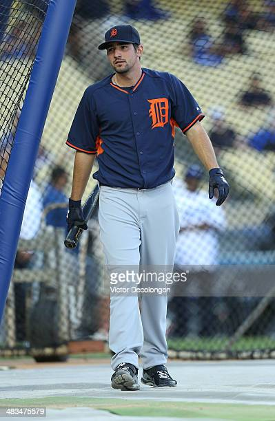 Nick Castellanos of the Detroit Tigers takes batting practice prior to the MLB game against the Los Angeles Dodgers at Dodger Stadium on April 8 2014...