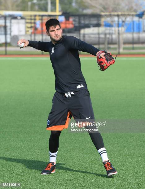 Nick Castellanos of the Detroit Tigers throws a baseball during Spring Training workouts at the TigerTown complex on February 13 2017 in Lakeland...