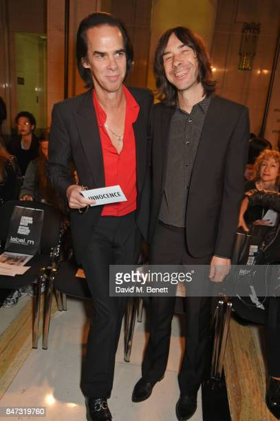 Nick Cave and Bobby Gillespie attend the Pam Hogg SS18 catwalk show at Freemasons Hall during London Fashion Week on September 15 2017 in London...