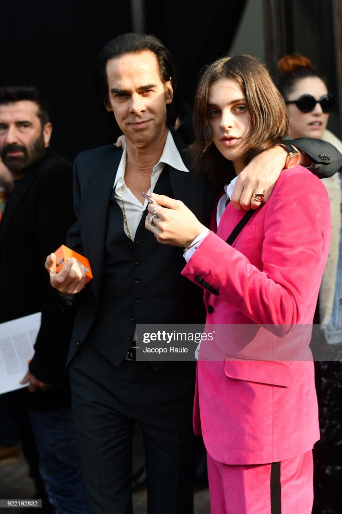 Nick Cave and Earl Cave are seen leaving the Gucci show during Milan Fashion Week Fall/Winter 2018/19 on February 21, 2018 in Milan, Italy.