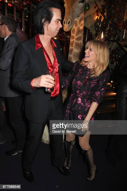 Nick Cave and Kylie Minogue attend the Nick Cave The Bad Seeds x The Vampires Wife x Matchesfashioncom party at Loulou's on November 22 2017 in...