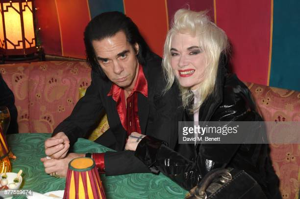 Nick Cave and Pam Hogg attend the Nick Cave The Bad Seeds x The Vampires Wife x Matchesfashioncom party at Loulou's on November 22 2017 in London...