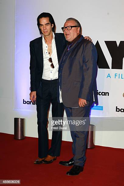 """Nick Cave and Ray Winstone attends the """"20,000 Days on Earth"""" screening at Barbican Centre on September 17, 2014 in London, England."""