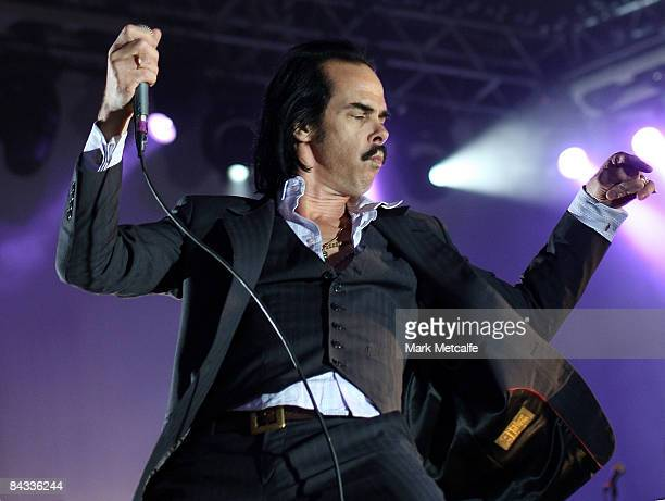 Nick Cave and the Bad Seeds perform during All Tomorrows Parties on Cockatoo Island on January 17 2009 in Sydney Australia