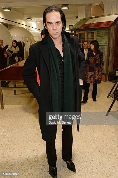 Nick Cave attends an exclusive VIP preview of the Dover Street Market on March 18 2016 in London England
