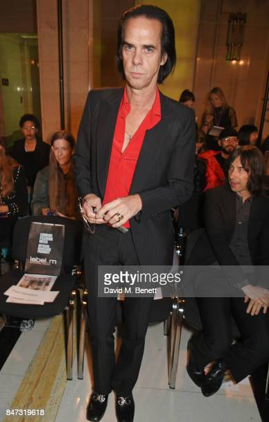 Nick Cave attends the Pam Hogg SS18 catwalk show at Freemasons Hall during London Fashion Week on September 15 2017 in London United Kingdom