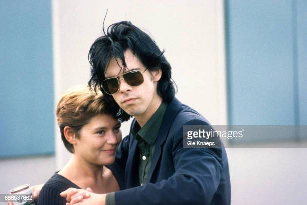 Nick Cave dancing with Carla press officer from his record company Pinkpop Festival Landgraaf Nederland