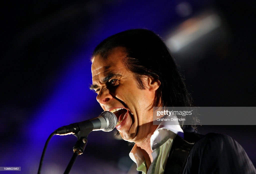 Nick Cave of Grinderman performs on stage during the Big Day Out Festival at Flemington Racecourse on January 30, 2011 in Melbourne, Australia.