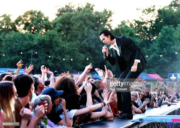 Nick Cave performs on stage at All Points East in Victoria Park on June 3 2018 in London England