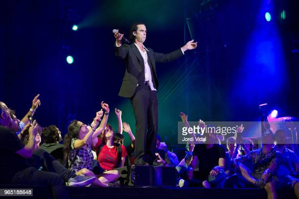 Nick Cave performs on stage during Primavera Sound Festival Day 2 at Parc del Forum on May 31 2018 in Barcelona Spain