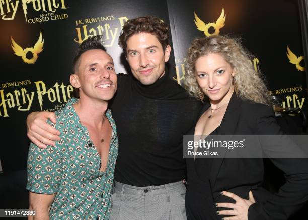 Nick Cearley Nick Adams and Lauren Molina pose at the opening night after party for Harry Potter and The Cursed Child Parts One 2 at August Hall on...