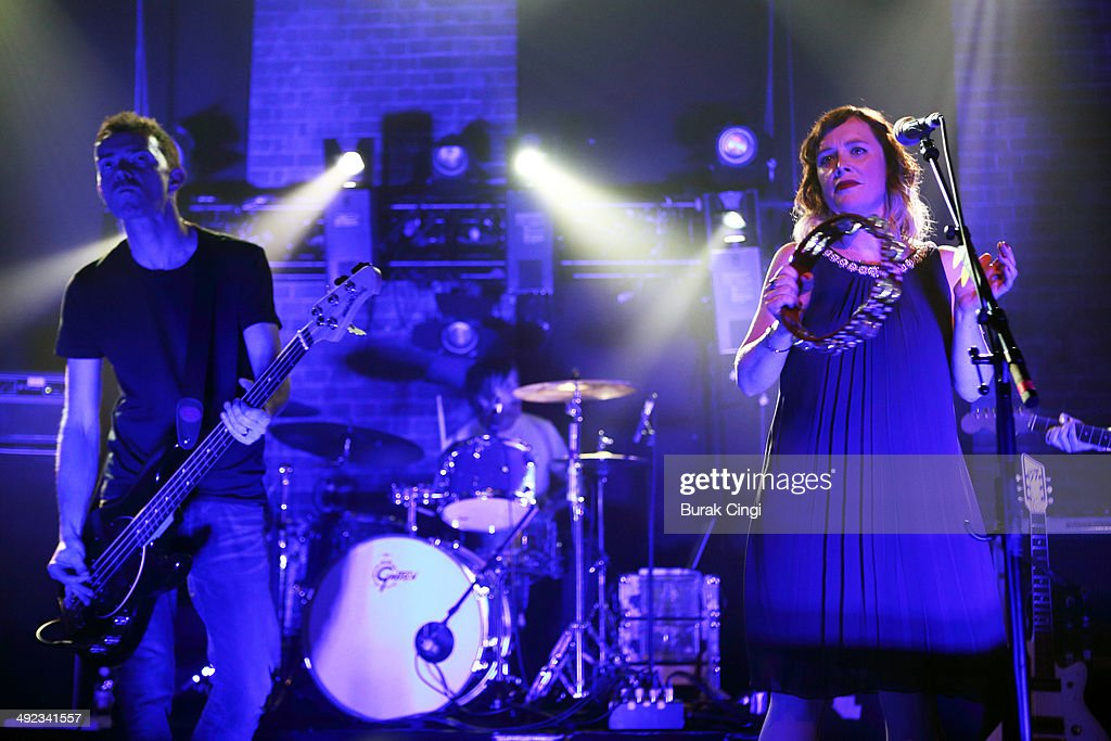Nick Chaplin and Rachel Goswell of Slowdive perform on stage at Village Underground on May 19, 2014 in London, United Kingdom.