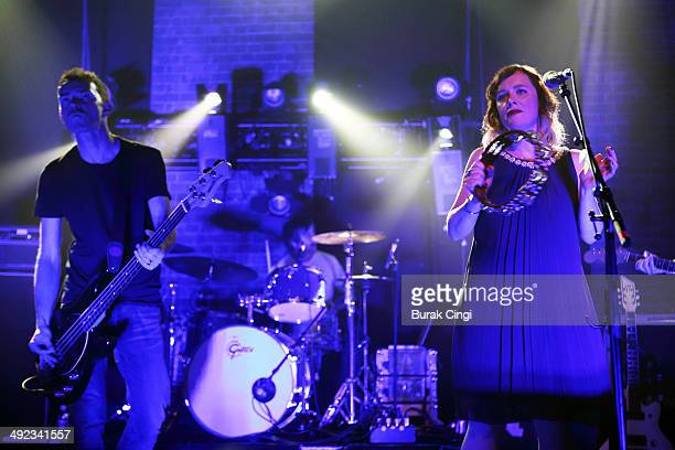 Nick Chaplin and Rachel Goswell of Slowdive perform on stage at Village Underground on May 19 2014 in London United Kingdom
