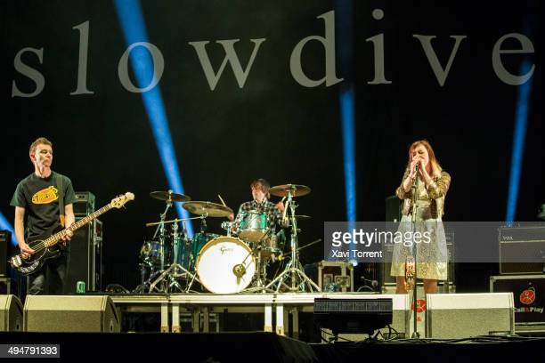 Nick Chaplin Ian McCutcheon and Rachel Goswell of Slowdive perform on stage on day 3 of Primavera Sound 2014 on May 30 2014 in Barcelona Spain