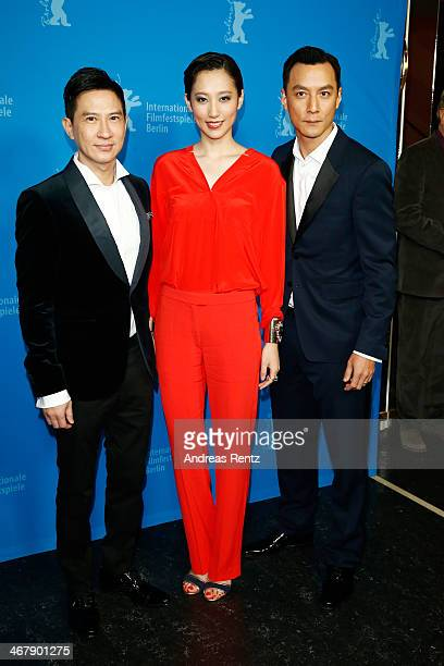 Nick Cheung Christie Chen and Daniel Wu attend 'That Demon Within' premiere during 64th Berlinale International Film Festival at Zoo Palast on...