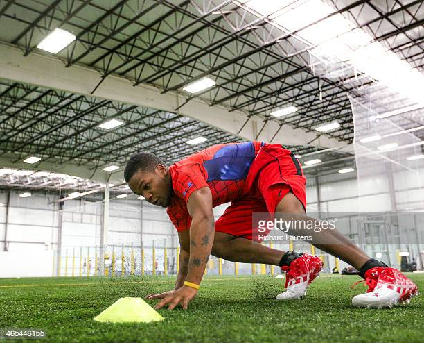 Nick Christmas works on an agility drill The new Global Indoor Football League is holding a combine at a facility in Mississauga Coaches and some...