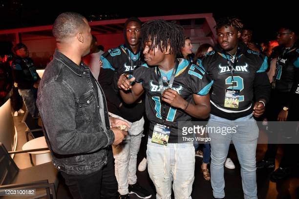 Nick Chubb and guests attend Twitch Rivals Streamer Bowl After Party at Verizon 5G Stadium at Super Bowl LIVE on January 30 2020 in Miami Florida