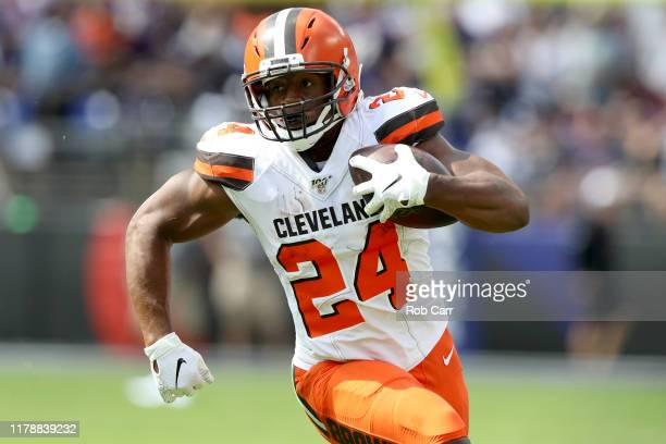 Nick Chubb of the Cleveland Browns carries the ball against the Baltimore Ravens at MT Bank Stadium on September 29 2019 in Baltimore Maryland