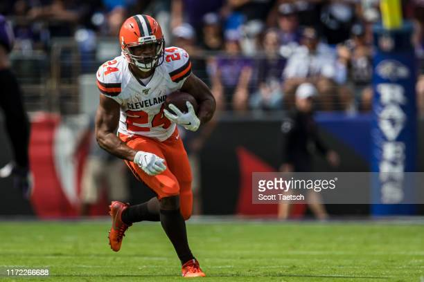Nick Chubb of the Cleveland Browns carries the ball against the Baltimore Ravens during the first half at MT Bank Stadium on September 29 2019 in...