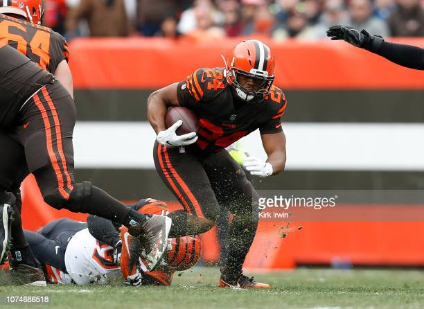 Nick Chubb of the Cleveland Browns carries the ball during the first quarter against the Cincinnati Bengals at FirstEnergy Stadium on December 23...
