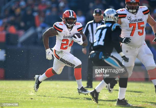 Nick Chubb of the Cleveland Browns carries the ball during the second quarter against the Carolina Panthers at FirstEnergy Stadium on December 9 2018...