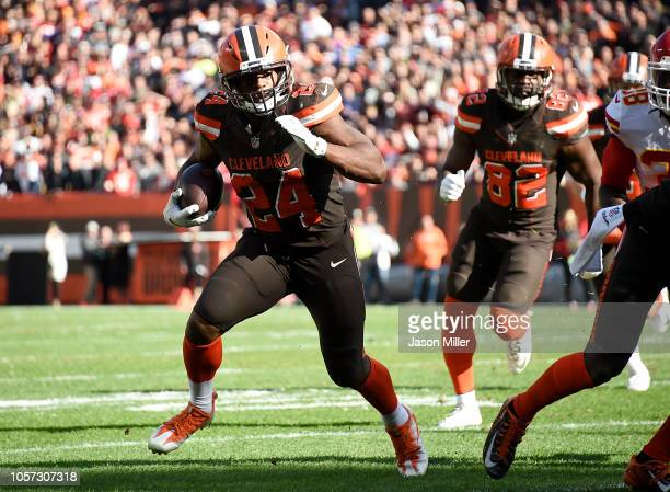 Nick Chubb of the Cleveland Browns carries the ball for a 3 yard touchdown during the second quarter against the Kansas City Chiefs at FirstEnergy...