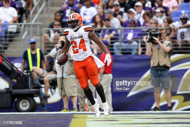 Nick Chubb of the Cleveland Browns celebrates after rushing for a second half touchdown against the Baltimore Ravesn at MT Bank Stadium on September...