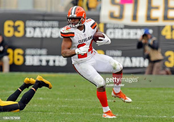 Nick Chubb of the Cleveland Browns in action against the Pittsburgh Steelers on October 28 2018 at Heinz Field in Pittsburgh Pennsylvania