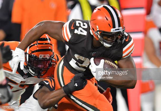 Nick Chubb of the Cleveland Browns runs against the Cincinnati Bengals during the first half at FirstEnergy Stadium on September 17, 2020 in...