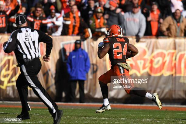 Nick Chubb of the Cleveland Browns runs the ball in for a touchdown in the third quarter against the Atlanta Falcons at FirstEnergy Stadium on...