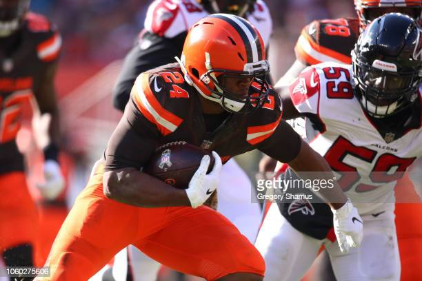 Nick Chubb of the Cleveland Browns runs the ball in the in the second half against the Atlanta Falcons at FirstEnergy Stadium on November 11 2018 in...