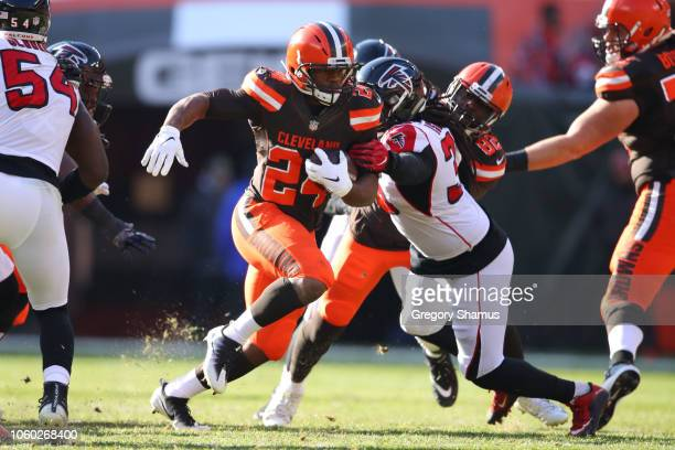 Nick Chubb of the Cleveland Browns runs the ball in the second half against the Atlanta Falcons at FirstEnergy Stadium on November 11 2018 in...
