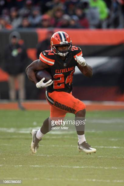 Nick Chubb of the Cleveland Browns runs the ball second half against the Atlanta Falcons at FirstEnergy Stadium on November 11 2018 in Cleveland Ohio