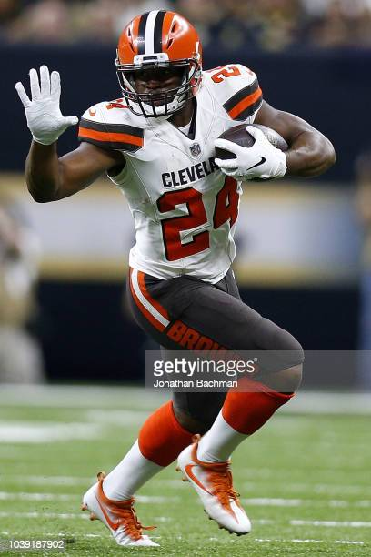 Nick Chubb of the Cleveland Browns runs with the ball during a game against the New Orleans Saints at the MercedesBenz Superdome on September 16 2018...